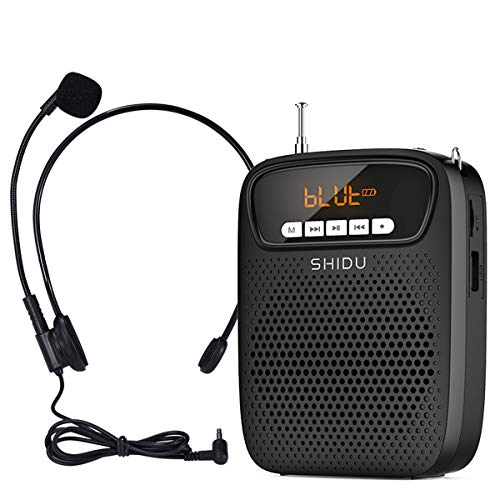 Voice Amplifier,15W Rechargeable Portable Microphone for Teachers,Lightweight Personal Microphone with Speaker Wired Headset Supports Bluetooth,Recording,FM Radio,TF Card/AUX