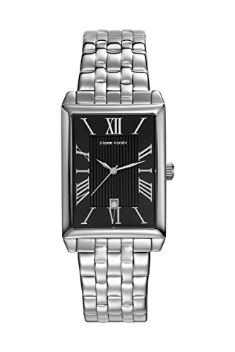 Pierre Cardin Armbanduhr Damenuhr Quarz Uhr PC-Belneuf - Analoge Uhr mit Datum, silbernem Edelstahlarmband und schwarzem Zifferblatt - 30m/3atm - PC107212F13