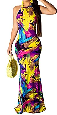 Package include: 1* maxi dress for women Features:tie dye print,buttons decoration at back neck,back cut out,sleeveless,off shoulder,high neck,racerback,boho style,floor length,mermaid style Off the Shoulder,Triple Color Block,Casual Style,3/4 Sleeve...