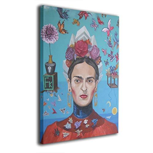 Pintura C Frida Kahlo Mexicana Folk Wall Art Pintura Paisaje Lienzo Impresiones Ninguno Marco Listo para Colgar para decoración Moderna salón 40,6 x 50,8 cm, Madera, Blanco, Talla única