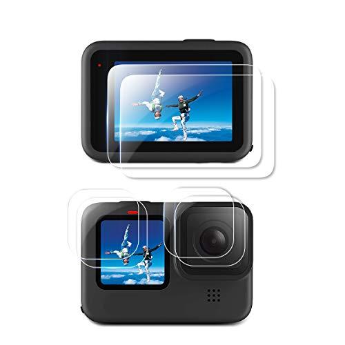 QULLOO Protettore Schermo per GoPro Hero 9 Black, Ultra-Trasparente Vetro Temperato Schermo e Pellicola Proteggi Lenti Camera Accessories - 6 Pezzi