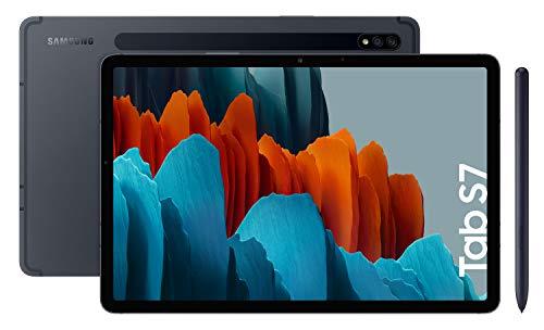 """Samsung Galaxy Tab S7 - Tablet de 11"""" con pantalla QHD (Wi-Fi, Procesador Qualcomm Snapdragon 865+, RAM de 6GB, ROM de 128GB, Android 10 actualizable) - Color Negro [Versión española]"""