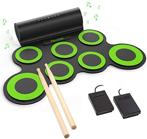 Paxcess 電子ドラム ポータブルドラム セット スピーカー内蔵 マルチ伴奏 デモ機能搭載 8デモ曲 7個ドラムパッド 5音色 3リズム