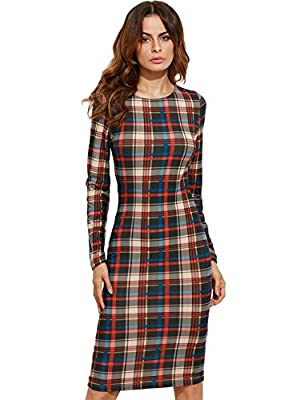 Recommend to choose 1 size up. Stretchy fabric.Slim fit. Crew Neck, Plaid, bodycon design, Sheath dress OL style ,Wear to Work Business Dress. Suit for Evening Occasion, Party, Office and Club Do not bleach, machine wash cold, hand wash are available...