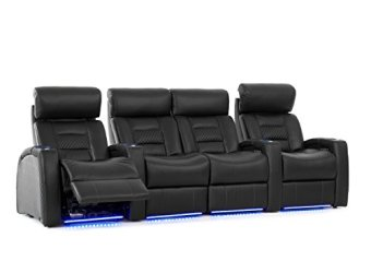Octane Seating Flex HR Home Theater Seats - Black Top Grain Leather - Power Recline - Row of 4 with Center Loveseat