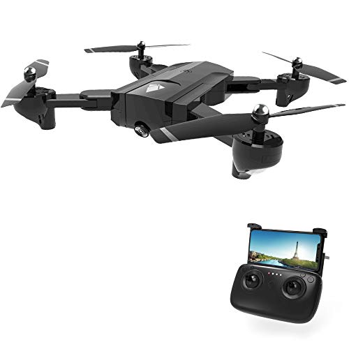 RC Drone, DeXop SG900 Optical Flowing Foldable FPV Drone FPV WiFi RC Quadcopter with Double HD 720P Camera 4CH 6-Axis Gyro Image Allow Gesture Photo/Video Selfie Drone-Black