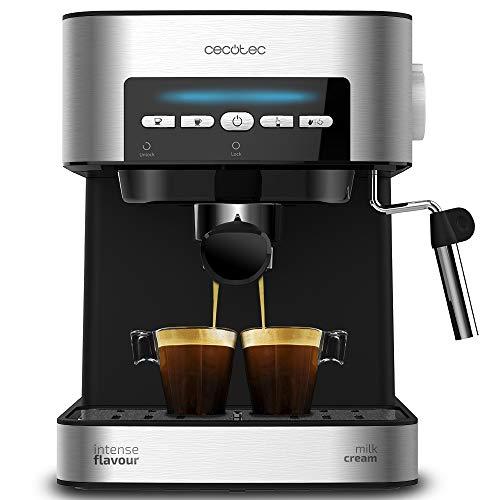 Cecotec Power Espresso 20 Matic Cafetera, Presión 20 Bares, 1,5L, Brazo Doble Salida, Vaporizador, Superficie Calientatazas, Mandos Digitales, Acabados en Acero Inoxidable, 850W, Negro/Plata
