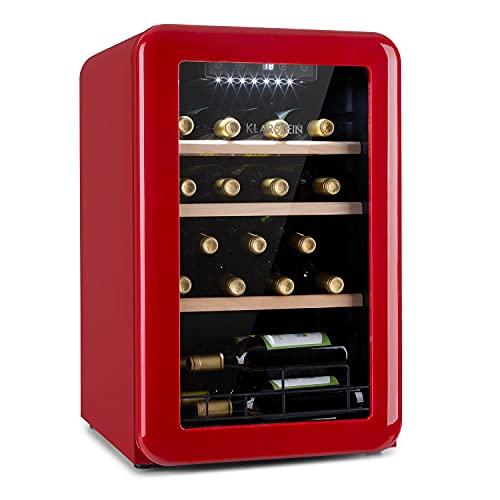 KLARSTEIN Vinetage Uno - Frigorifero Vini, Piccola Cantinetta, Temperatura: 4-22 C, Compressore, 2 Ripiani in Legno, Luce LED, Protezione da UV, Posizionamento Libero, 70L/19 Bottiglie, Rosso