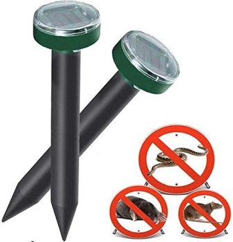 Taupe set Répulsif anti campagnols et anti nuisibles avec la vibration,dissuasif efficace contre les fourmis, rats, et le serpent,Répulsif à haute fréquence pour l'extérieur
