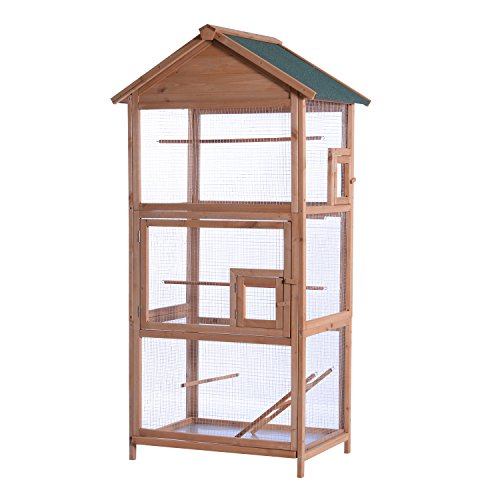 MCombo 70inch Outdoor Aviary Bird Cage Wooden Vertical Play House Pet Parrot Cages with Stand 0011