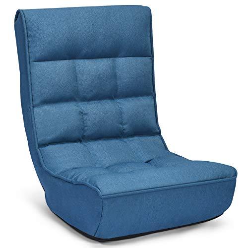 COSTWAY Bodenstuhl klappbar, Meditationsstuhl mit Verstellbarer Rückenlehne, Faules Sofa gepolstert, Bodensessel Fensterstuhl blau