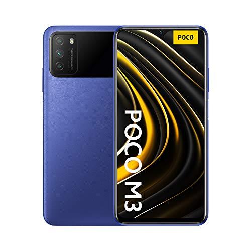 Xiaomi POCO M3 Smartphone, 4 GB + 128 GB, Tripla Fotocamera, 6000 mAh Batteria Grande, 1080P FHD + Display 6.53 'FHD, Doppio Altoparlante, Jack per Cuffie da 3.5 mm, Blu (Cool Blue)
