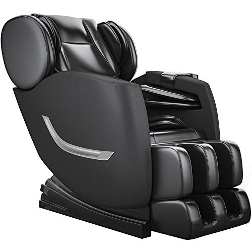 Full Body Electric Zero Gravity Shiatsu Massage Chair with Bluetooth Heating and Foot Roller for Home and Office(Black)