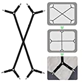 ZHOUBIN Bed Sheet Fasteners Clips Holder Straps for All Bedsheets Fitted Sheets Adjustable (2 Pcs Crisscross Black)