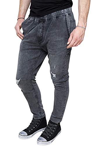 Evoga Jeans Uomo Slim Fit in Cotone Casual Elasticizzato Panta-Tuta skynny con Strappi (44, Grigio)