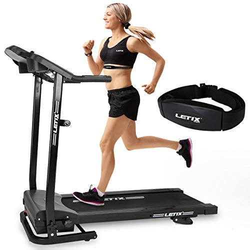 Letix Sports Motorisiertes Laufband mit APP Steuerung (Tablet, Smartphone) inkl. Pulsgurt, LCD-Display...