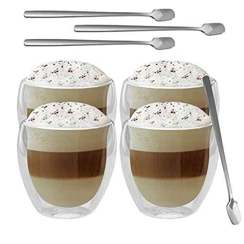 GoMaihe Doppia Parete set Tazzine Cappuccino Caffe Vetro Porta un Cucchiaio 250ML(X4)Bicchieri Acqua Vetro, Calici da Acqua per Tè, Latte, Espresso, Birra Trasparente