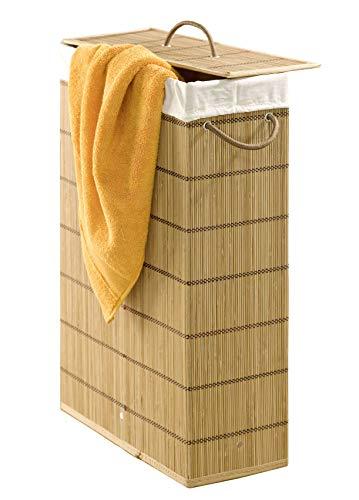 Wenko Wäschetonne Lückenfüller, extra schmal, Bambus, 39 x 60 x 18,5 cm, braun