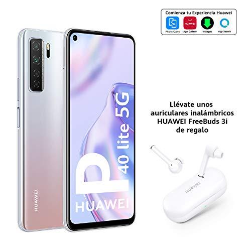 "HUAWEI P40 lite 5G - Smartphone con pantalla FullView de 6.5"", Cuádruple Cámara IA de 64MP, 6 GB RAM + 128 GB ROM, Carga rápida de 40W, Dual Sim, Plata + Freebuds 3i"