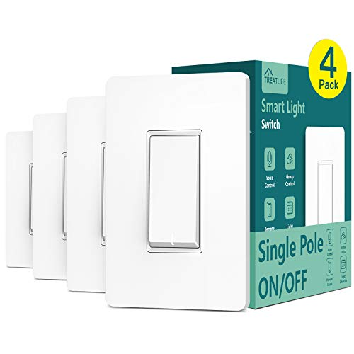Single Pole Treatlife Smart Light Switch, 4 Pack, Neutral Wire Required, 2.4Ghz Wi-Fi Light Switch, Works with Alexa and Google Assistant, Schedule, Remote Control, Smart Home, ETL Listed, FCC