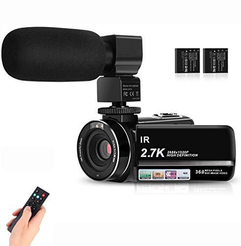 IEBRT Video Camera Camcorder 2.7K Full HD Vlogging Camera for YouTube 3.0' IPS Screen IR Night...