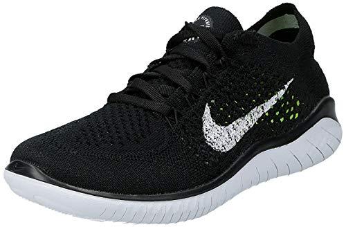 Nike Damen Free RN Flyknit 2018 Laufschuhe, Schwarz (Black/White 001), 38 EU