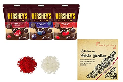 Hershey's X Vending India - Exotic Dark Chocolate Pomegranate, Blueberry & Acai, Raspberry & Goji 100g (Pack of 3) with a Rakhi Card