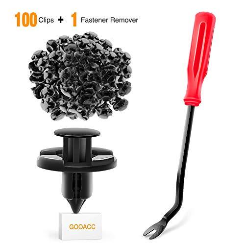 GOOACC GRC-46 100 Pcs Clips 100PCS Nylon Bumper Rivet OEM Replacement-#01553-09321 8mm,1PC Bonus Fastener Remover