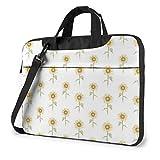 Laptop Notebook PC Bolso de Hombro-Girasol Pintado a Mano Floral PC portátil Mochila de Hombro Bolso Maletín Messenger con Correa 15.6 ″