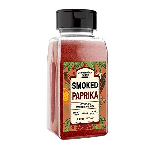 Smoked Paprika, 16 oz Volume by Unpretentious Baker, A Flavorful Ground Spice Made from Dried Red Chili Peppers Wood Smoked for a Strong & Smoked Flavor, Convenient Shaker Bottle