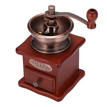 TopHGC Moulin à café manuel, moulin à grains de café en bois Vintage Style manivelle machine à épices de grain de café avec fond antidérapant