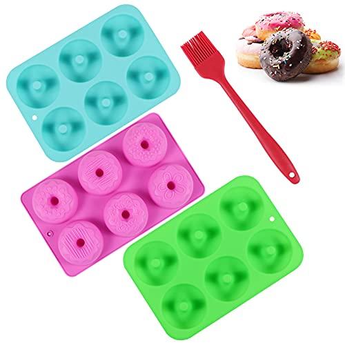 Moldes para Donuts,3 Pieza Molde para Donut de Silicona, sin BPA,Antiadherente,para Tartas,Magdalenas,Galletas,Bagels etc, Regala un Cepillo Gratis
