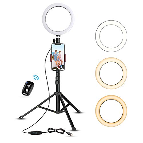8' Selfie Ring Light with Tripod Stand & Cell Phone Holder for Live Stream/Makeup,...