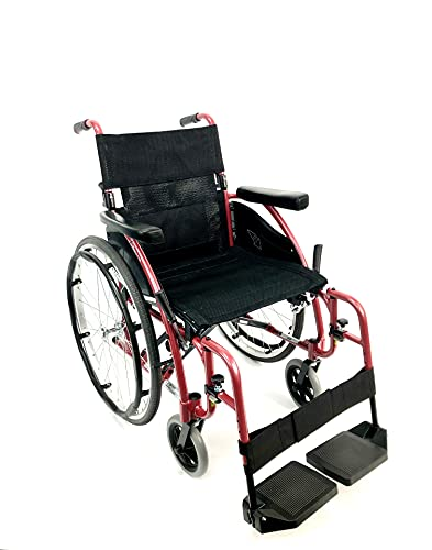 Karman Healthcare S-115 Ergonomic Ultra Lightweight Manual Wheelchair, Rose Red, 16' Seat Width