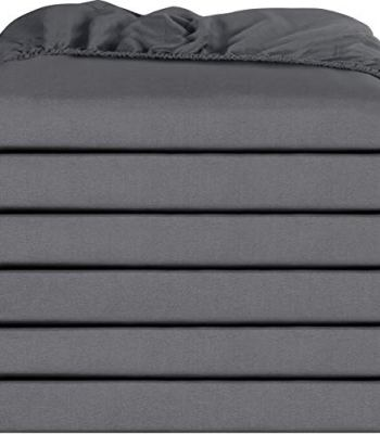 Utopia Bedding Fitted Sheets - Pack of 6 Bottom Sheets - Soft Brushed Microfiber - Deep Pockets, Shrinkage & Fade Resistant - Easy Care (Twin, Grey)