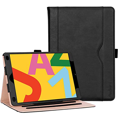 ProCase iPad 10.2' Case 2019 7th Generation iPad Case, Leather Vintage Stand Folio Cover Protective Case for 2019 iPad 7th Gen 10.2 Inch (A2197 A2198 A2200) Black