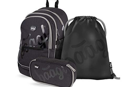 Schulrucksack Set Jungen 3 Teilig, Schultasche ab 3. Klasse, Grundschule Ranzen mit Brustgurt, Ergonomischer Schulranzen (Logo Black)