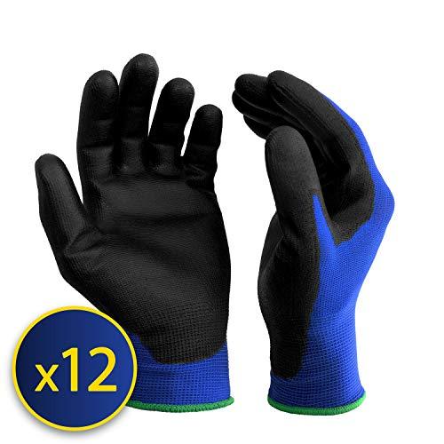 S&R-12 Paia Guanti da Lavoro protettivi in fibra di nylon con rivestimento in poliuretano, blu,...