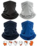 Yemo [4 Pack] Unisex Sun UV Protection Cooling Face Scarf Cover Mask Neck Gaiter, Headband Fishing Mask, Reusable Breathable Bandana Balaclava, Motorcycle Face Cover for Men Women (4 Solid-3)