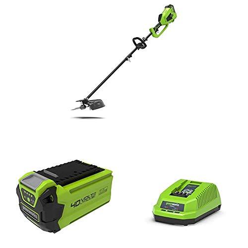 Greenworks Decespugliatore e Falce a Batteria 2 in 1 GD40BC + Batteria Senza Caricabatterie, 40 V + Caricabatterie 40 V senza Batteria + Batteria 4 V, 2 Ah + Caricabatteria Rapido G40UC Li-Ion, 2.2 A