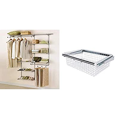 Product 1: Fits any walk-in or reach-in closet with at least one wall 3-6 ft. wide Product 1: Telescoping rods and expanding shelves adjust to add 18 ft. of shelving space and 10 ft. of hanging space Product 1: All mounting hardware included for easy...
