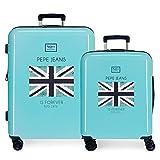 Pepe Jeans Cuore Juego de Maletas Azul 55/69 cms Rígida ABS Cierre TSA 120L 4 Ruedas Dobles Equipaje de Mano