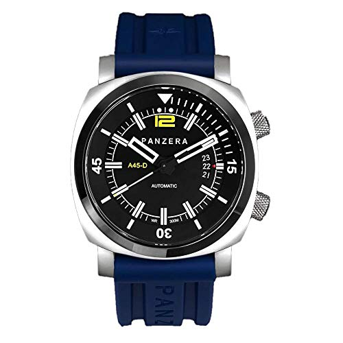 Panzera Aquamarine Pro Diver Infinity Pioneer Automatik Stahl Blau Datum Silikon Saphir Uhr Herren