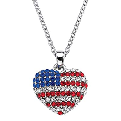 84 Crystals Silvertone; Includes Silvertone Chain Pendant: 16 mm wide x 19 mm long x 3.5 mm high; Chain: 1.5 mm wide x 18 inches long, adjustable x 1.5 mm high Includes gift box and drawstring pouch