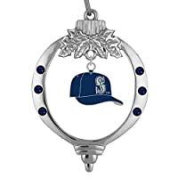 "Showcase your team spirit during the holiday season with this unique one-of-a-kind ornament A baseball cap charm ~ the size of a dime is displayed in a shiny silver tone frame ~ 1 3/4"" X 2 1/2"" with dazzling crystals in your teams colors This whimsic..."
