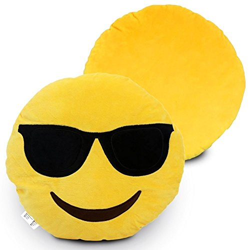 Desire Deluxe Cojín Emoticono Gafas de Sol Sonriente - Almohada o Peluche Emoji Cariñoso en Forma de Emoticon Gafas de Sol 100% de Satisfacción o Devolución del Dinero.