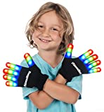 The Noodley Flashing LED Finger Light Gloves with Extra Batteries - Kids and Teens Sizes Indoor Outdoor Games Ideas Ages 4-7 (Small, Black)