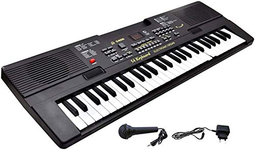 RADHE 54 Key Bandstand Piano with LED Display, Microphone, Recording and Adapter (Black)