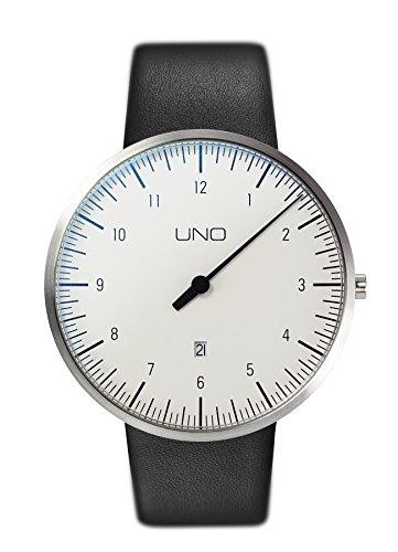 Botta-Design UNO Plus Herren-Einzeigeruhr Analog Schweizer Quarzwerk mit Lederarmband 710000 … (44 mm, Weiß)