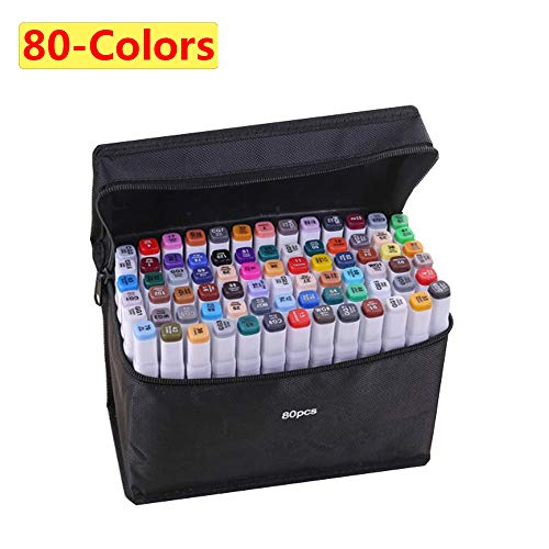 80-color Alcohol Marker,Brush Markers Dual Tips Permanent Art Markers for Kids, Highlighter Pen Sketch Markers for Drawing Sketching Adult Coloring, Alcohol-based Markers, Great Christmas Gift Idea